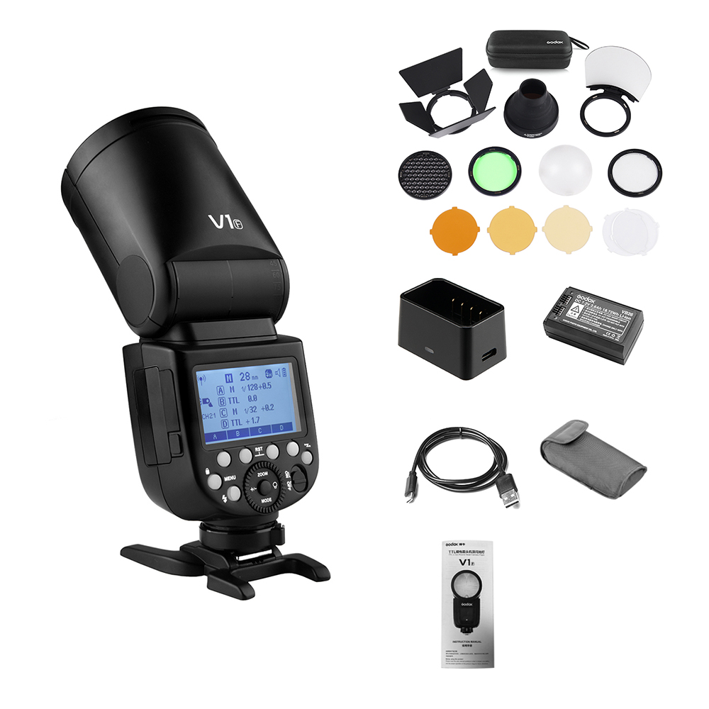 Профессиональная вспышка Godox V1F для камеры Speedlite + AK-R1 карманная вспышка беспроводная 2,4G для камеры Fujifilm DSRL для свадебной студии