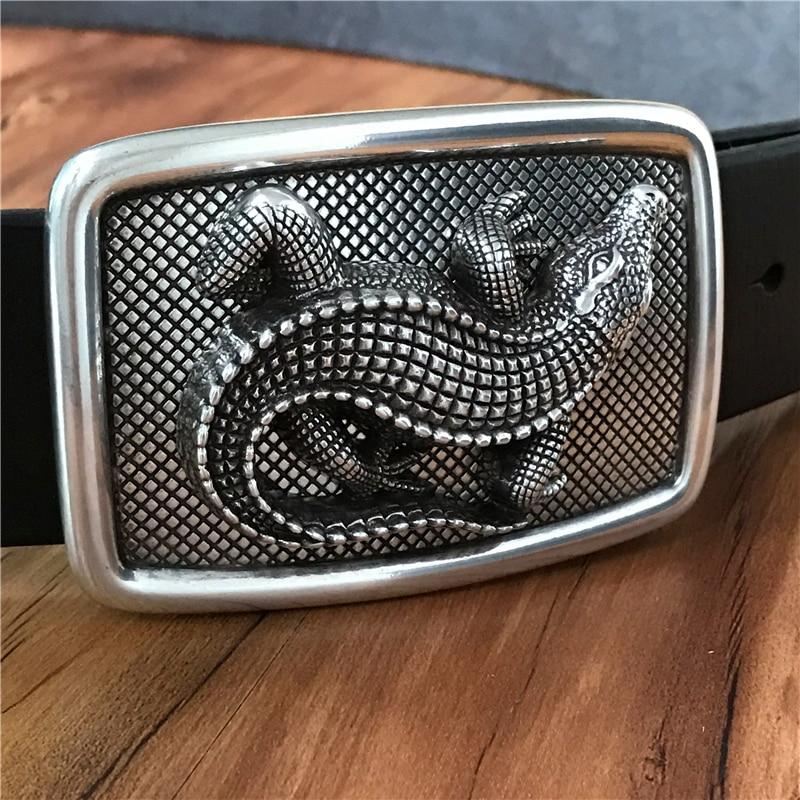 Crocodile Belt Buckle  Thick Leather Luxury Men Belt Ceinture Homme Designer Belts Men High Quality Men's Belts MBT0481