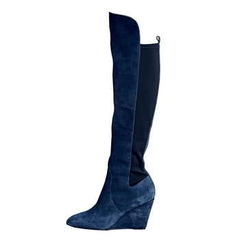 New Ladies Blue Suede Knee High Boots Wedged High Heels Elastic Slip on Ladies Patchwork Pointed toe Bottines Knight Boots