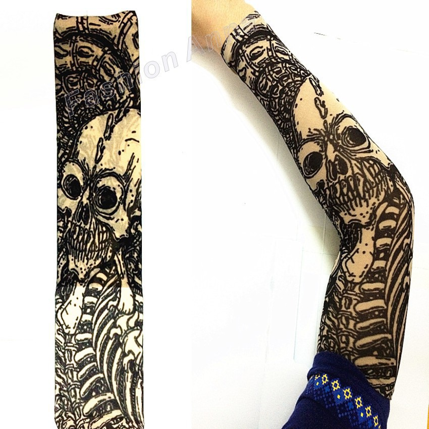 1pc fashion mixed 100 nylon elastic hip hop fake temporary tattoo sleeve holloween horror skull. Black Bedroom Furniture Sets. Home Design Ideas