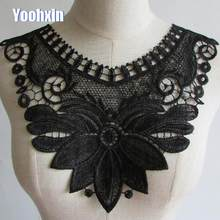 2019 Luxury Flower Lace Collar 3D cotton Fabric Trim ribbon DIY Embroidery dubai Applique Sewing guipure wedding Neckline decor(China)