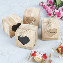10pcs Black Heart Window Candy Box Wedding Decoration Vintage Kraft Favors Gift Boxes with Burlap Twine(China)