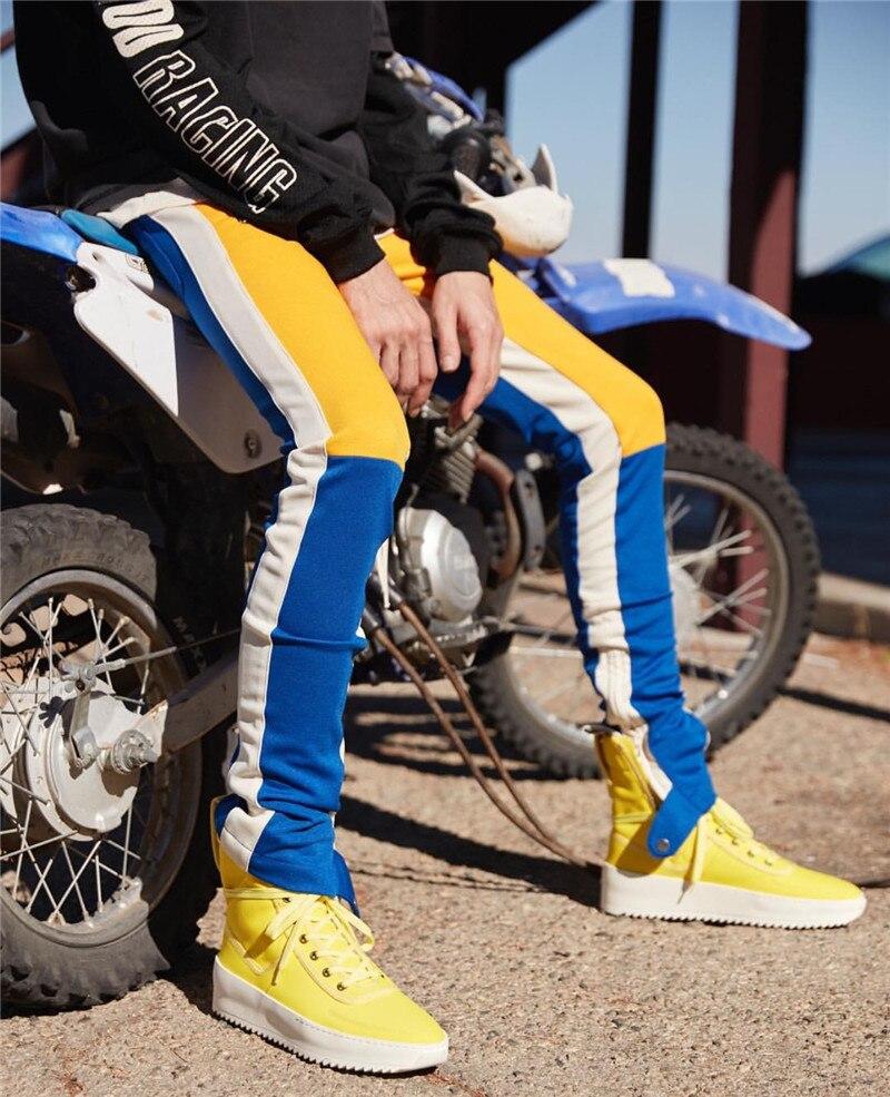 Color Block Patchwork Fit Style Men's Pants with Leg Opening Zipper 2017 New Fashion Streetwear Pants Men