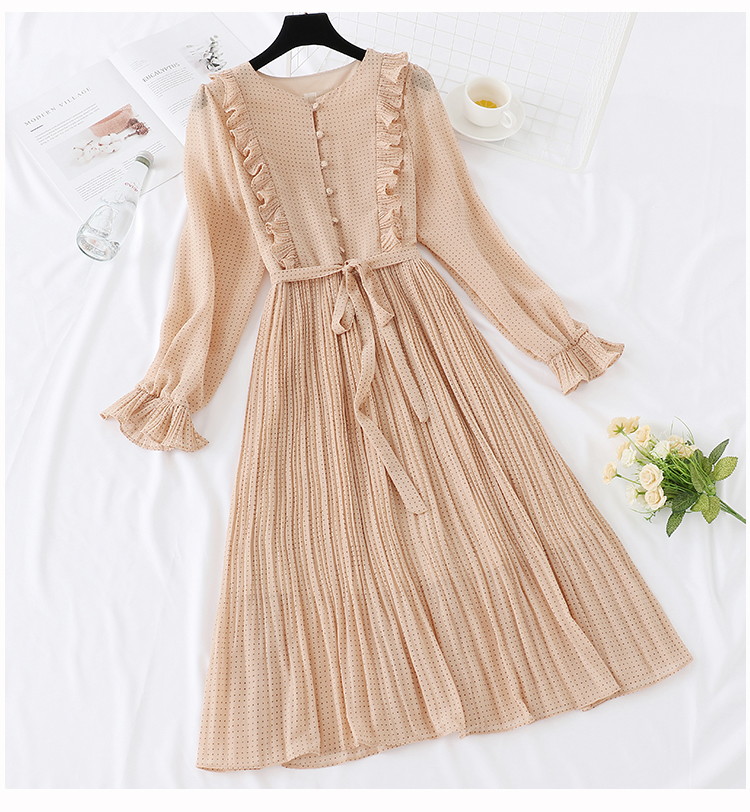 Trytree 19 Autumn Dress Vintage Dot Ruffles women Butterfly Sleeve Shirt Dresses Belt Mid-calf Empire A-line Pleated Hem Dress 4