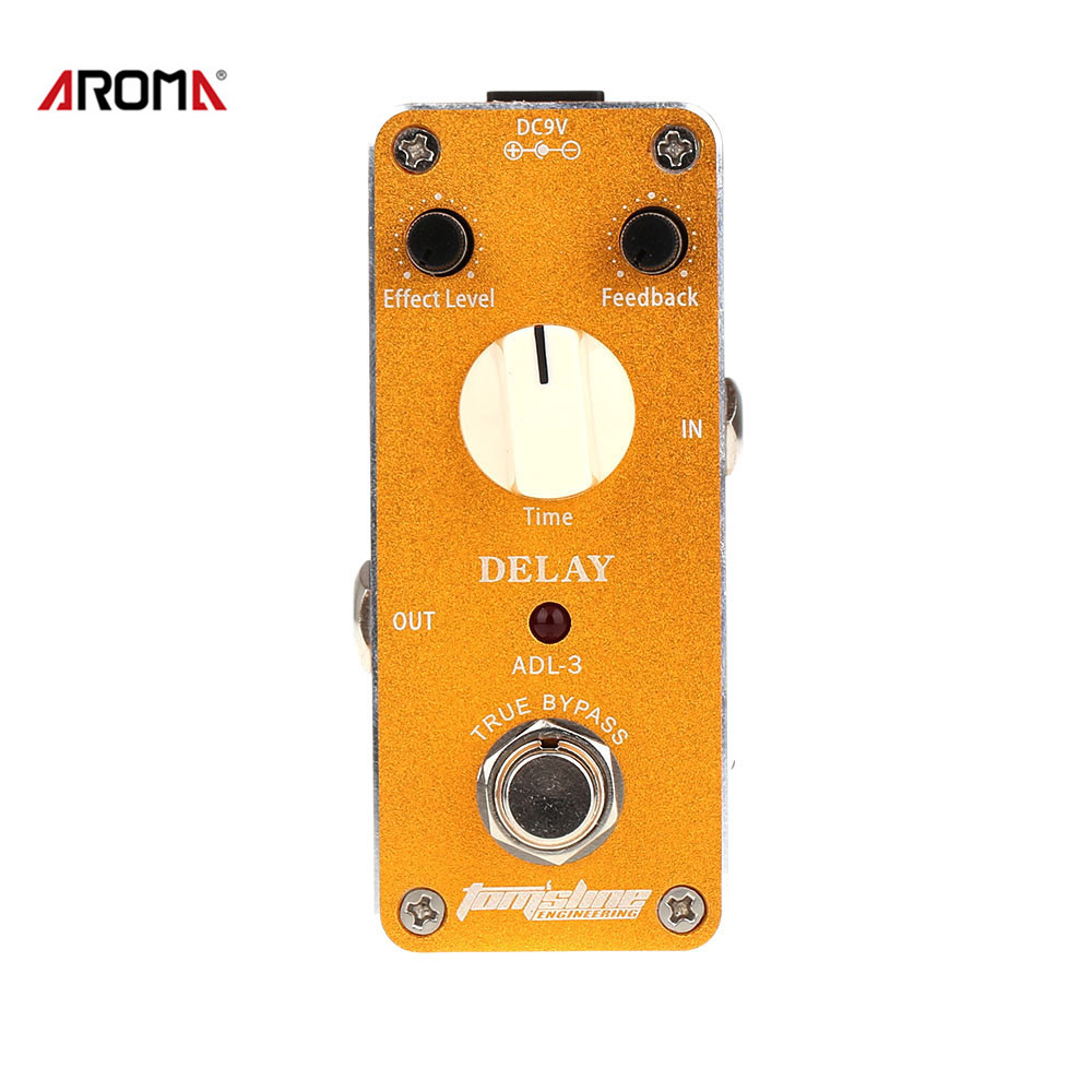 AROMA ADL-3 Mini Delay Electric Guitar Effect Pedal with Fastener Tape Aluminum Alloy Housing True Bypass aroma tom sline abr 3 mini booster electric guitar effect pedal with aluminum alloy housing true bypass durable guitar parts