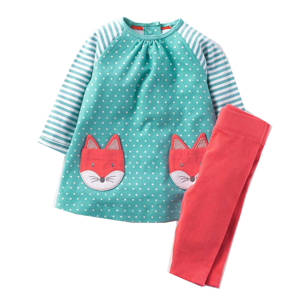 Bebé Niñas Ropa de los niños conjuntos de ropa de marca 2018 niños chándales para niñas conjuntos de patrón Animal bebé niña de la escuela trajes