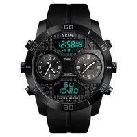 Skmei Business Sport man 3 Time Display Waterproof Watch Military Vintage Alarm Fashion Chrono Stainless Steel Wristwatches saat