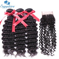 Sapphire Deep Wave Remy Human Hair 3 Bundles With Closure 1B Color For Hair Salon High