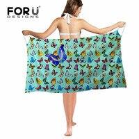 FORUDESIGNS Novelty Butterfly Printing Summer Women Chiffon Shawls Scarf Fashion Swimwear Bikini Cover Up Hawaiian Sarong