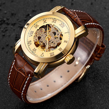 Fashion OUYAWEI Men Luxury Brand watch Roman Number Leather Watchband Automatic Mechanical Wristwatches Gift Box Relogio Releges yelang v1015 upgrade version khaki number tritium gas blue luminous men automatic mechanical business watch leather watchband