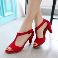 Chainingyee sweet style sexy peep toe summer sandals fashion belt buckle green red pink black claret red high heeled women shoes
