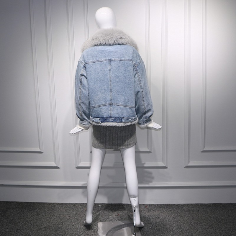 2019 coréen grandes poches réel fourrure de renard col Denim vestes femmes mode hiver chaud polaire coton court Jeans manteaux Streetwear - 4