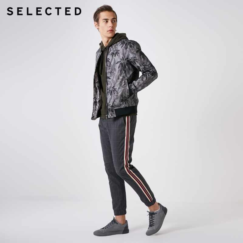 SELECTED Men's Gauze Print Baseball Collar Outwear Coat Chic Regular Fit Casual Jacket C | 4191OM505
