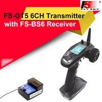 Flysky-mando a distancia con receptor BS6, transmisor Gyro de 2,4G y 6 canales, sistema de estabilización de giroscopio integrado para coche y barco RC, FS-GT5