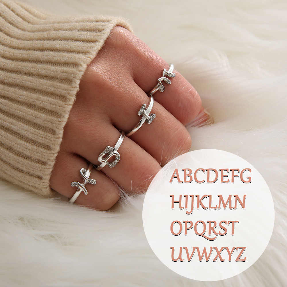 1b54f58a4ae6e4 Minimalist Opening Rose Gold Silver Color Rhinestone Knuckle A-Z Letter Ring  Minimalist Initial Rings for Women