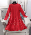 2017 new vintage women fashion cute A-Line dress female beading full sleeves above knee dress solid o-neck knitting cotton dress