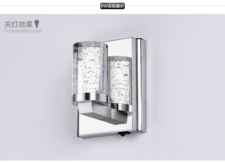 ФОТО A single crystal single-head  of high-end LED stainless steel bedroom corridors bathroom wall lamp