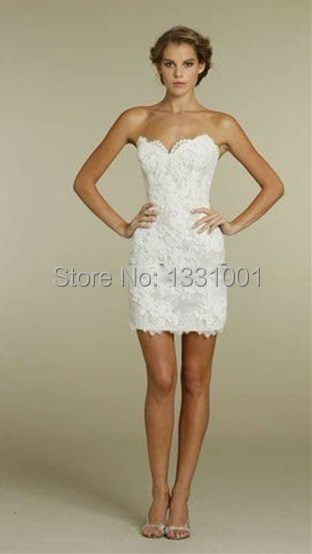 new fashion 2016 imported china sexy sweetheart lace short civil wedding dress off the shoulder bridal