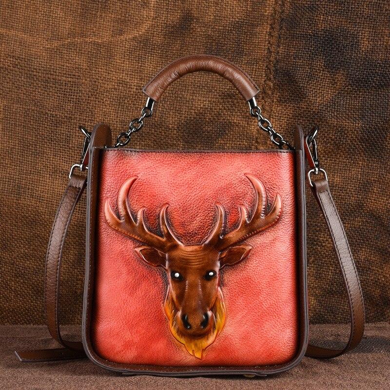 Sac à bandoulière Norbinus en cuir véritable pour femmes sac à bandoulière imprimé Animal fourre-tout de luxe sac à bandoulière femme sac à poignée supérieure
