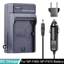 NP-F960 NP-F970 Battery Car Charger+EU Plug for SONY NP F960 F970 F950 F330 F550 F570 F750 F770 MC1500C 190P NP-F975 BC-VM10 doscing 4pcs 7200mah np f960 np f970 np f930 rechargeable camera battery for sony f950 f330 f550 f570 f750 f770 mvc fd51