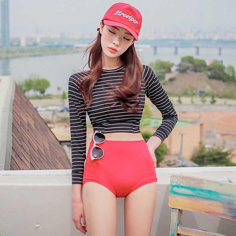 2017 Korea Striped Crop Tops + Bottoms Rash Guard Swimwear Wanita Tinggi Pinggang pelindung Matahari Lengan Panjang Baju Renang Rashguard 2 pcs/set