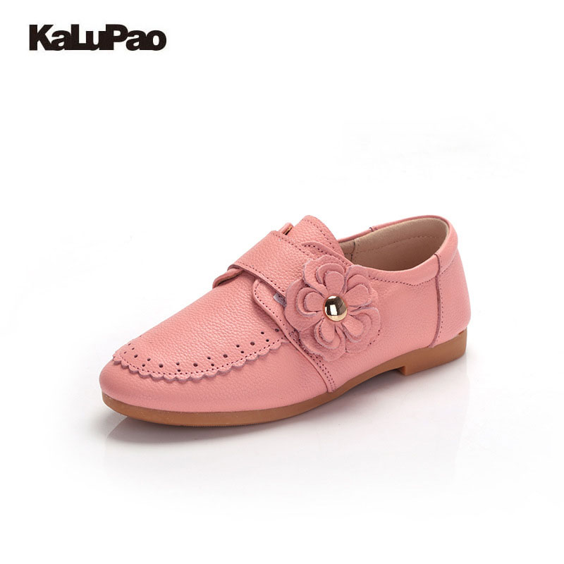 Kalupao Kids shoes for girl children Leather Shoes School Sneakers 2017 Autumn Girls Shoes Pink Flower Fashion Children Shoes glowing sneakers usb charging shoes lights up colorful led kids luminous sneakers glowing sneakers black led shoes for boys