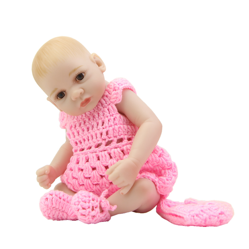 Может сидеть и лежать 11 дюймов Мини реборн куклы для всего тела силикона виниловые принцесса девушки с карими глазами детей рождество подар...