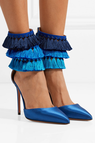 women sandals brand design blue fringe shoes 2018 summer autumn cover heels high heels sandals pointed toe mixed colors pumps trendy women s sandals with solid colour and fringe design