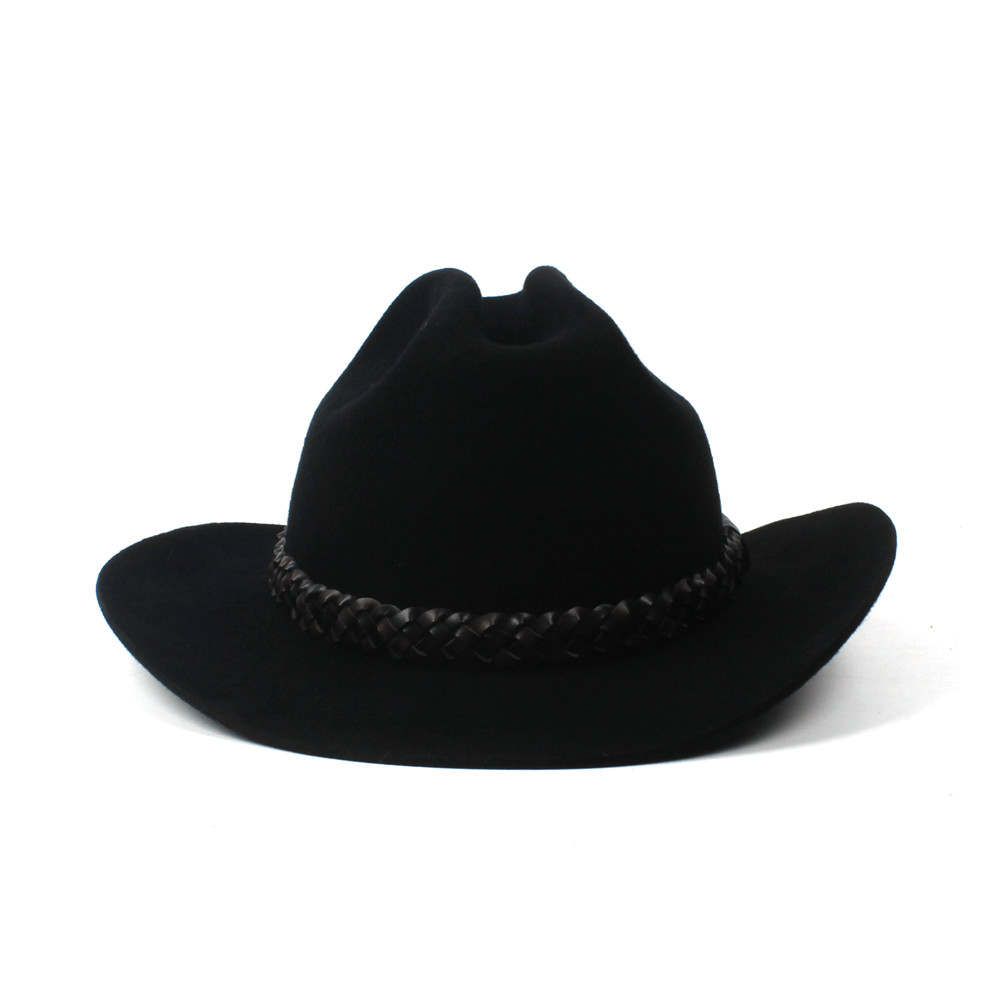 1c40fcd15af Black Wool Women Western Cowboy Hat For Lady Autumn Roll Up Brim ...