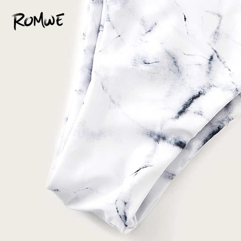 Romwe спортивный сексуальный комплект бикини Полосатый Галстук Спереди Бандо с высокой талией Нижняя часть купального костюма женские летние безпроводные пляжные купальники