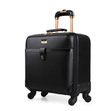 18 INCH Black Coffee Trolley Luggage Classic Business Trolley Case Men's travel suitcase Rolling Travel Luggage women commercial(China)