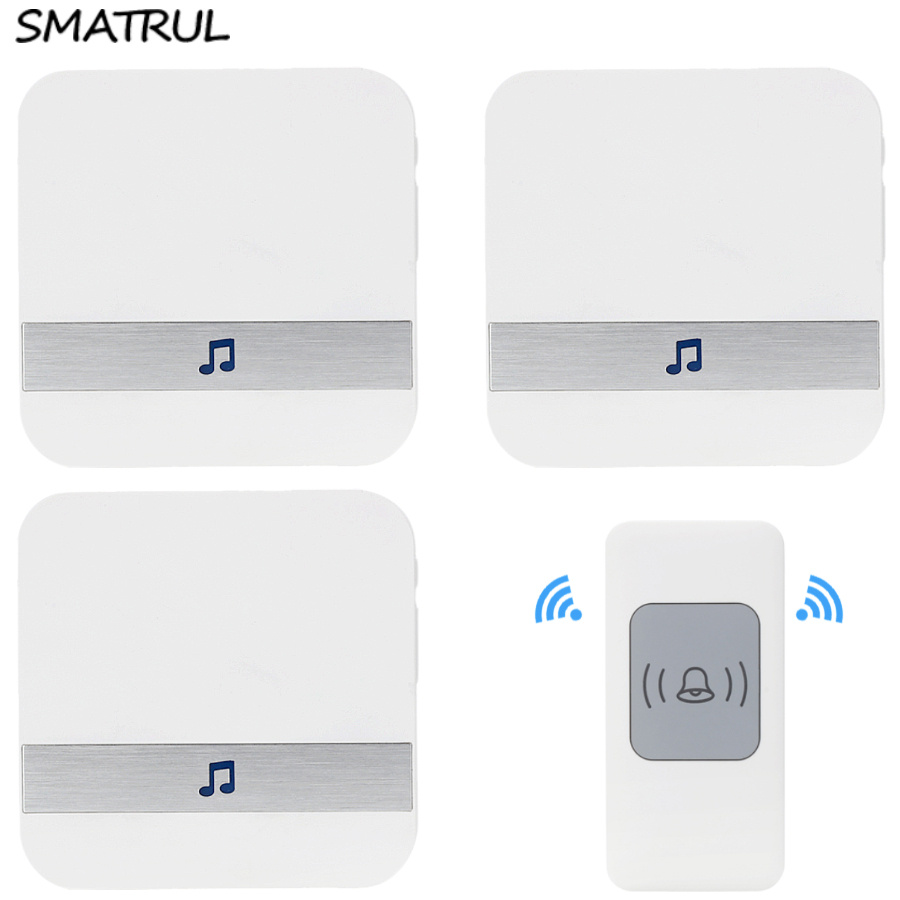 SMATRUL Waterproof Wireless Doorbell EU US AU Plug 300M long range smart home Door Bell chime 1 button 3 receiver AC 110V-220V kinetic cordless smart home doorbell 2 button and 1 chime battery free button waterproof eu us uk wireless door bell