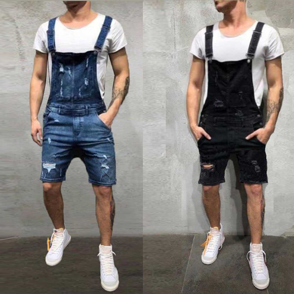 2019 Oversize Fashion Men's Ripped Jeans Jumpsuits Shorts Summer Hi Street Distressed Denim Bib Overalls For Man Suspender Pants