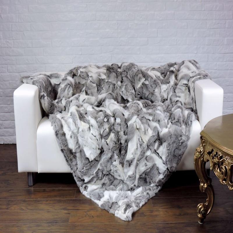 Настоящее Природный Кролика Кожи Меховым Одеялом Кролика Реального Ковер кровать Декоративные Одеяла Ковры и Ковры Для Гостиной Новый рож