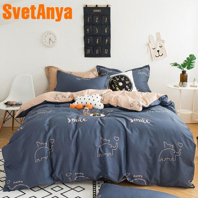 cbceb76d2494 Svetanya Sheet Pillowcases Comforter cover Sets Elephant Kids Bedding Set  Queen Double Full Twin size Bed Linens 100% Cotton