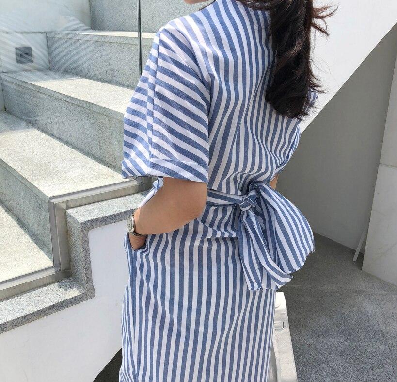 Korean Women Summer Cotton Blue Striped Bandage Split Long Dress Female Long Bodycon Plus Size Vestido Robe Femme Ete Sukienki 2