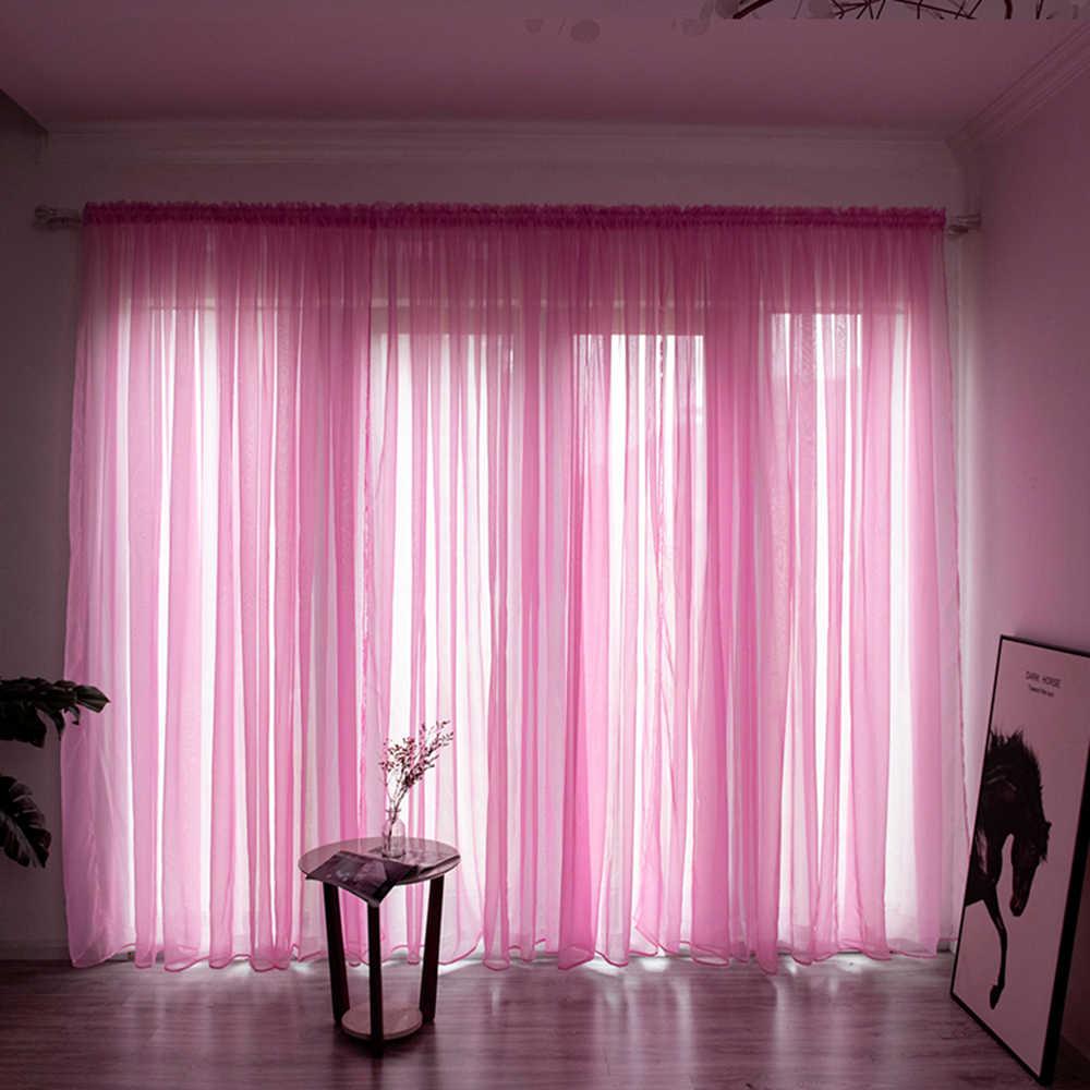 מוצק צבע קו וילון חלון מחרוזת וילונות לסלון חדר שינה וילון פנל Sheer טול מודרני חלון טיפולים