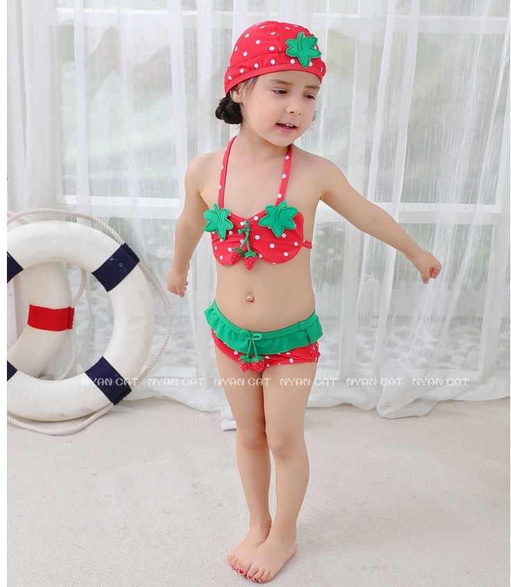 006c1db1f43c3 ... NYAN CAT baby girls swimsuit infant toddler kids children fashion  pineapple fruit swimwear hat+bra ...