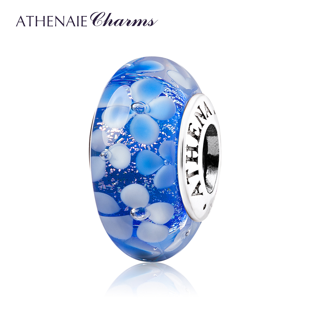ATHENAIE Murano Glass 925 Silver Core Blue Flower Garden Bead Charms Color Blue blouse with flower bell bottom color blue