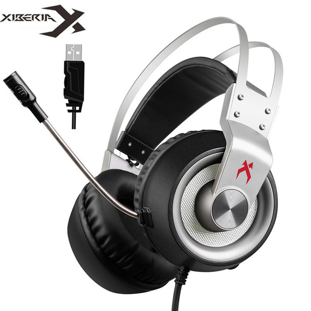 Xiberia K1 Computer Gaming Headphones Bass Casque USB 7.1 Channel Surround Sound PC Gamer Headset with Mic Led for PUBG Game