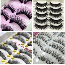 New 1set/10 Pairs Handmade Fake False Eyelash Lashes Natural Transparent Stem Beauty Mink Extensions