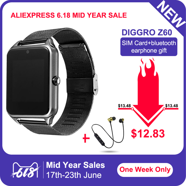 Diggro GT08 Plus Metal Strap Smart Watch Z60 Bluetooth Wrist Smartwatch Support Sim TF Card Android&IOS Watch pk Q9