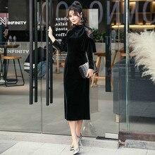Plus Size Pencil Dress 2018 Women Black Full Cloak Sleeves Lace Stand Mid-calf Vintage Party Dress Autumn Elegant Velvet Dresses