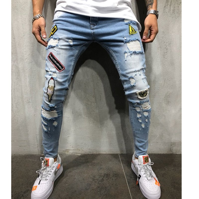 Jeans Men Fashion Streetwear Men's Hip Hop Jeans Vintage Gray Color Skinny Destroyed Ripped Jeans Broken Punk Pants Homme AB11