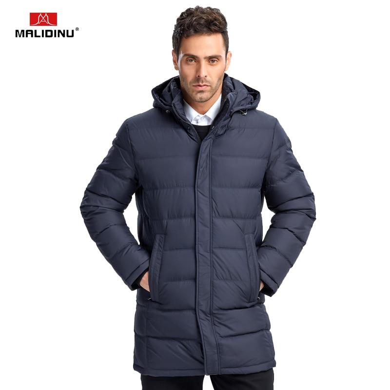 MALIDINU 2018 New Men Down Jacket Winter Down Coat Parka 70%White Duck Down Brand Long Thicken Winter Jacket Black Free Shipping