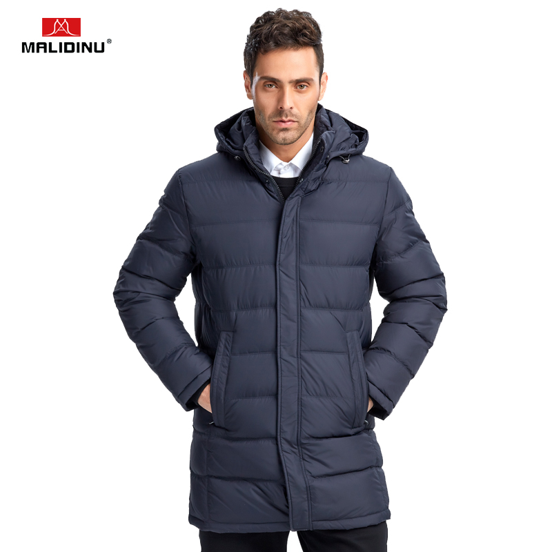 MALIDINU 2019 New Men Down Jacket Winter Down Coat Parka 70%White Duck Down Brand Long Thicken Winter Jacket Black Free Shipping