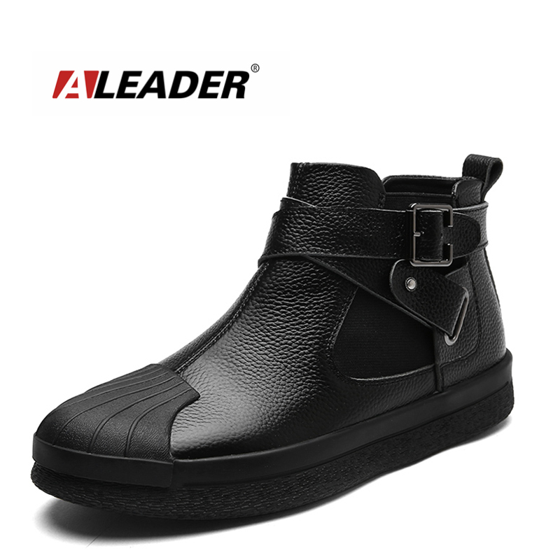 ALEADER Fashion Mens Ankle Boots Autumn Slip On Casual Shoes Genuine Leather Black Designer Boots For Men Luxury Walking Shoes new fashion men luxury brand casual shoes men non slip breathable genuine leather casual shoes ankle boots zapatos hombre 3s88