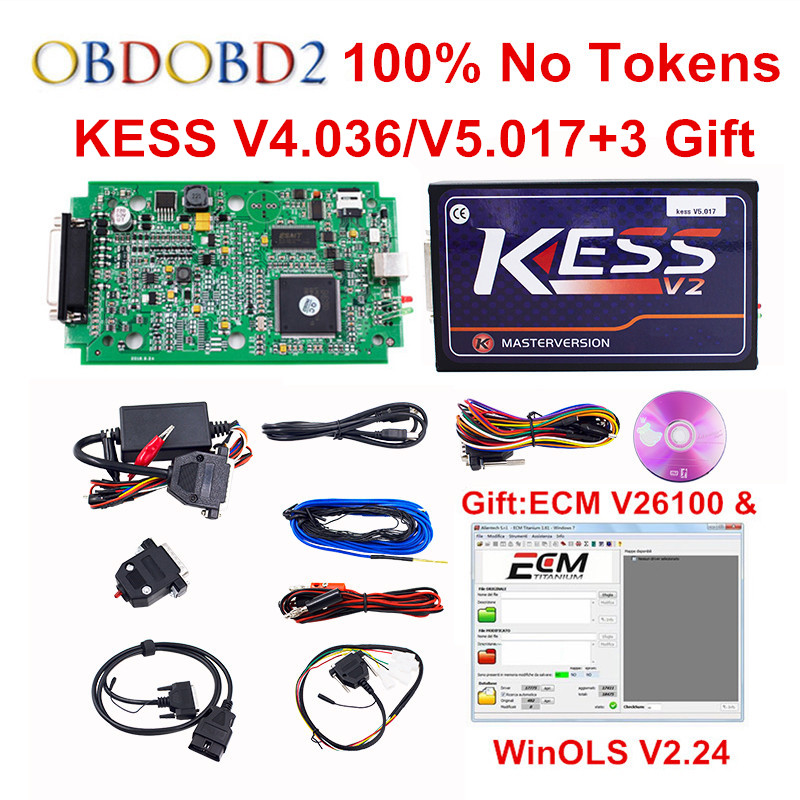 Newest V5.017 KESS V2.33 EU Red PCB OBD2 Manager Tuning Kit  No Token Limited HW V4.036 KESS V2 5.017 For Car Truck DHL Free 2017 online ktag v7 020 kess v2 v5 017 v2 23 no token limit k tag 7 020 7020 chip tuning kess 5 017 k tag ecu programming tool