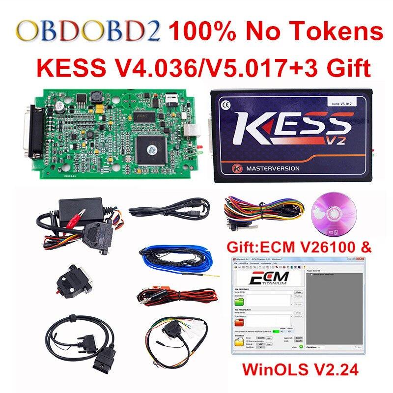 Più nuovo V5.017 KESS V2.33 UE PCB Rosso OBD2 Gestione Sintonia Kit No Token Limitato HW V4.036 KESS V2 5.017 Per L'automobile Camion DHL LIBERA