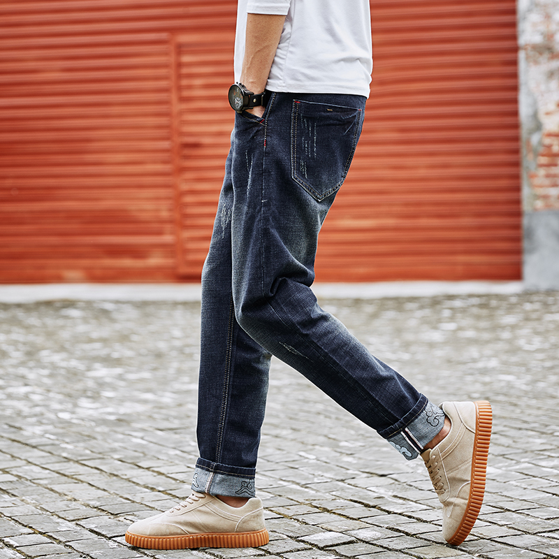 1b35f937c60 Plus Size M 6XL 7XL 8XL Large Tall Men Jeans 2018 Spring Casual High  Elastic Retro Ripped Blue Jeans Fashion Design Men Pants-in Jeans from Men s  Clothing ...